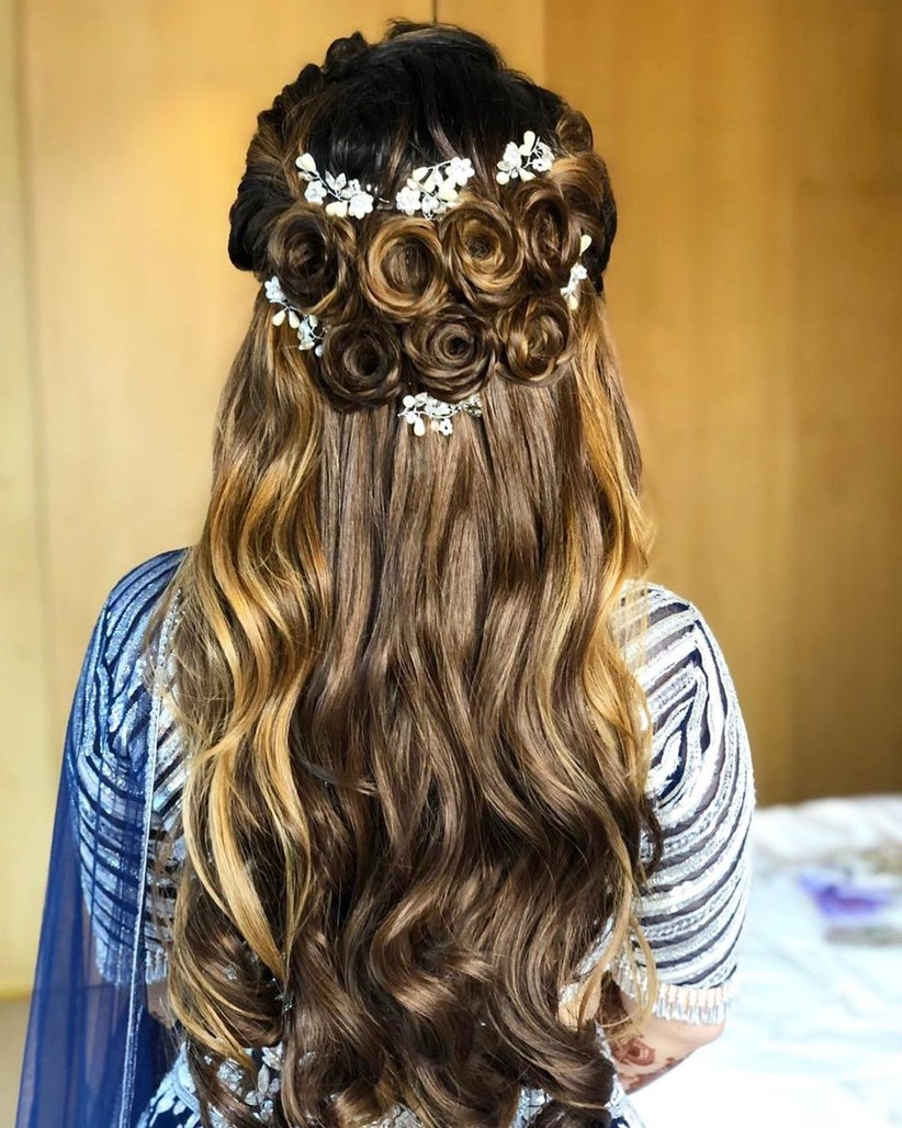 Beach Waves With Crown Puff Hairstyle for Saree