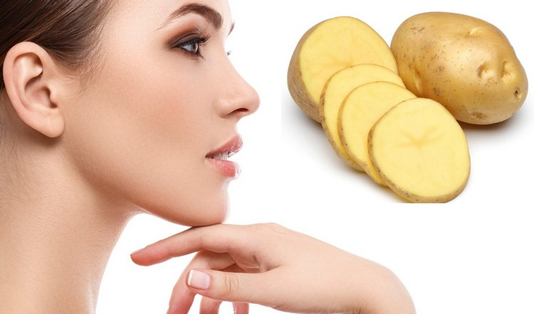 potato juice on face