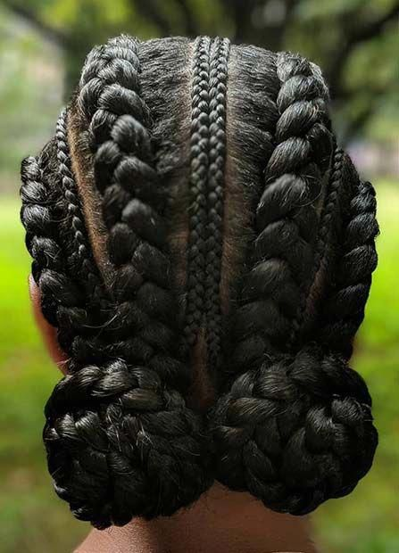 Low Braided Updo With Braided Hairstyles With Weave